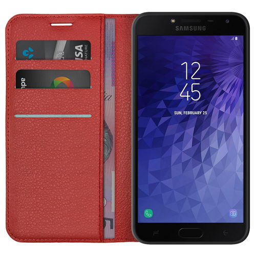 Leather Wallet Case Card Holder Pouch - Samsung Galaxy J4 - Red
